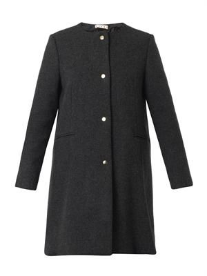 Collarless charcoal-grey wool-blend coat