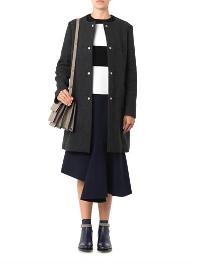 Marni Collarless charcoal-grey wool-blend coat