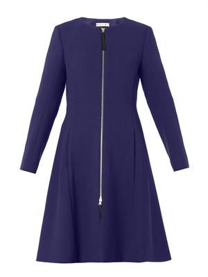 Collarless zip-front princess coat