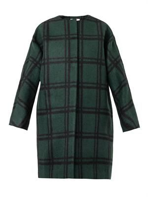 Collarless checked cocoon coat