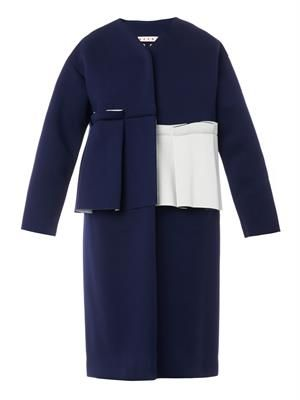 Bi-colour bonded-jersey coat