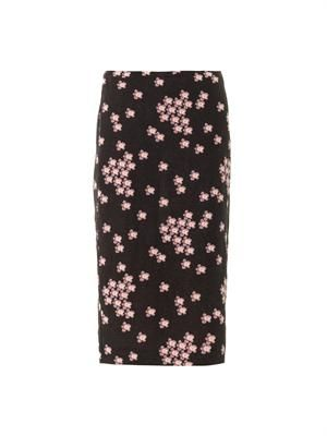 Japanese flower-print pencil skirt