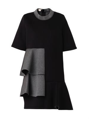Bi-colour ruffle-panel bonded dress