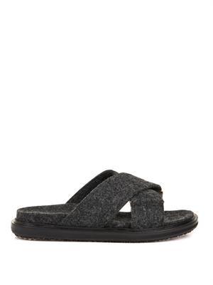 Crossover felt sandals