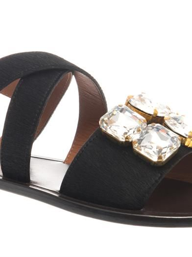 Marni Embellished calf-hair sandals
