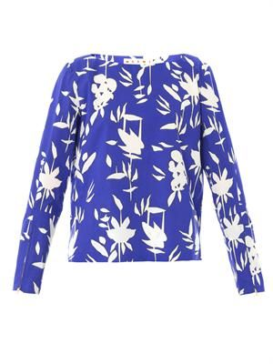 Hollow frond print cotton-poplin top