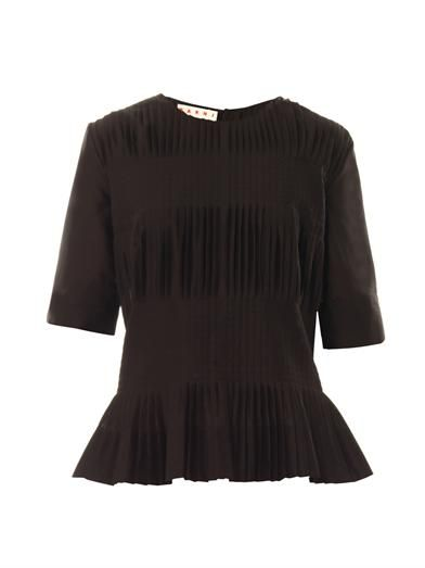 Marni Pleated cotton-voile top
