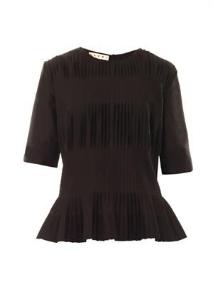 Pleated cotton-voile top
