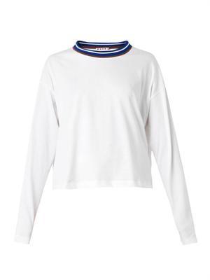 Contrast-neckline jersey top