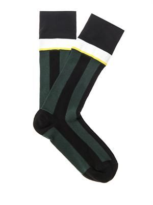 Fine-knit stripe socks