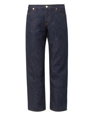 Velvet-hem low-slung boyfriend jeans