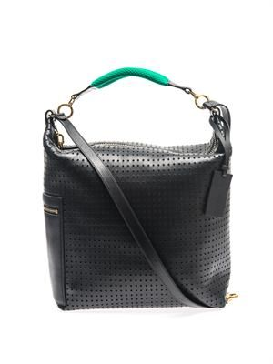 Convertible perforated leather backpack