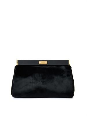 Calf-hair and leather clutch