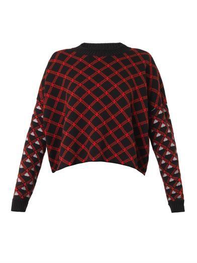 Marni Jacquard-check virgin wool sweater