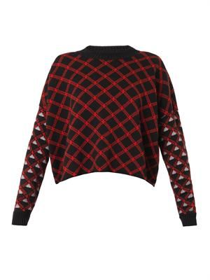Jacquard-check virgin wool sweater
