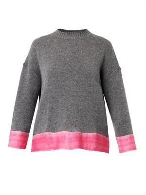 Contrast-hem cashmere-blend sweater