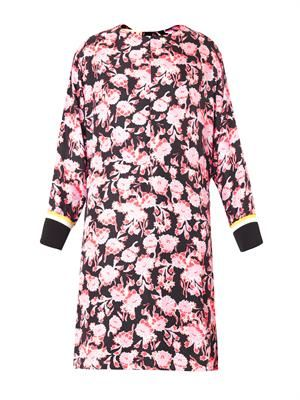 Motion flower-print silk dress