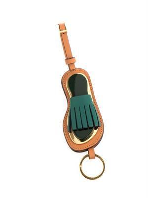 Fringed sandal leather key ring