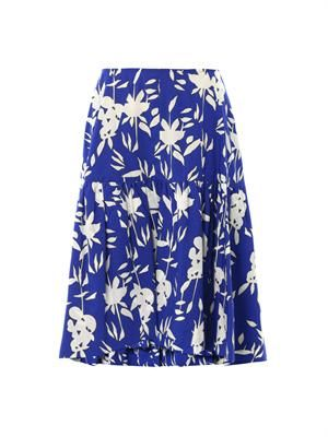 Hollow Frond-print cotton-poplin skirt