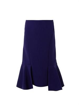 Fishtail wool-crepe skirt