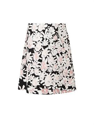 Abstract floral-print A-line skir
