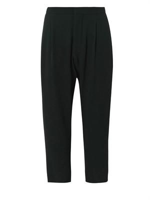 Pleat-front tapered trousers