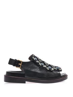 Floral crystal-embellished sandals