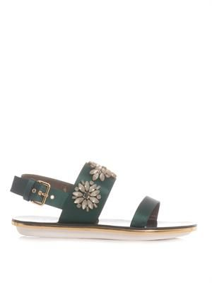 Flower-jewelled satin sandals