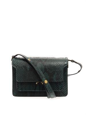 Trunk python shoulder bag