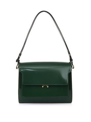 Trunk leather shoulder bag