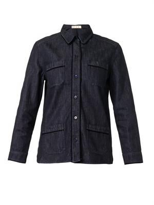 Velvet-trim denim shirt