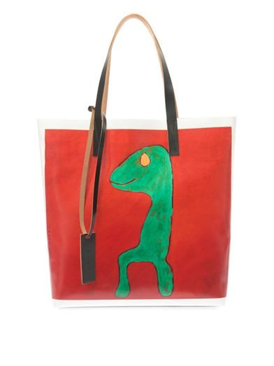 Marni Stefano Favaro 1-print PVC and leather tote
