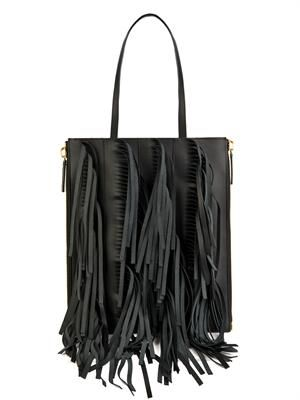 Fringed-leather tote