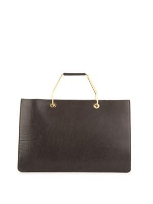 Metal-handle leather tote