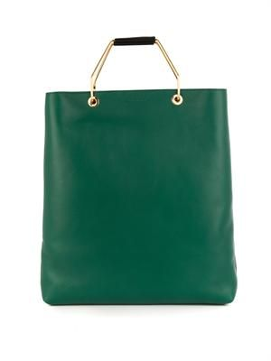 Bi-colour leather tote