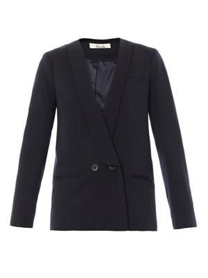 Cara double-breasted wool-crepe blazer