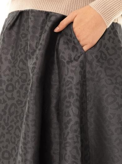 Freda Mae leopard-jacquard skirt