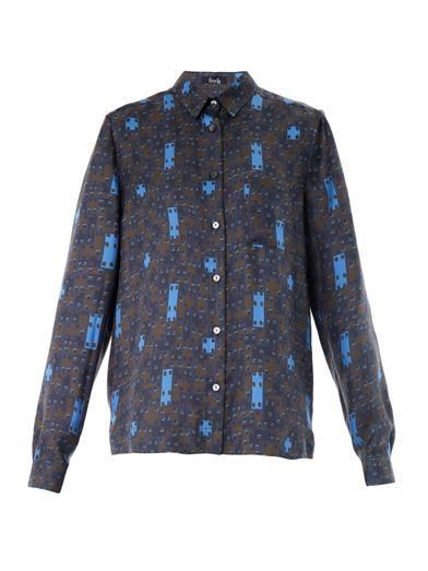 Freda Iris checkered-print blouse