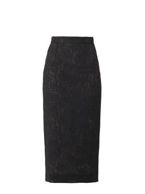 Sheer rose-jacquard pencil skirt