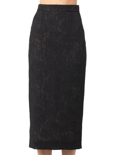 Freda Sheer rose-jacquard pencil skirt