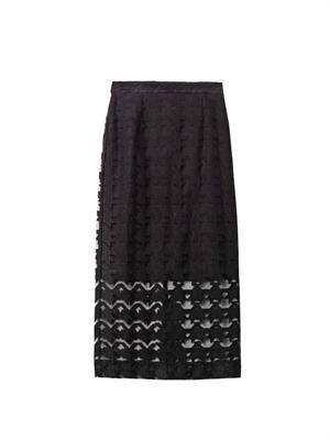 Embroidered hound's-tooth pencil skirt