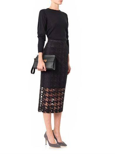 Freda Embroidered hound's-tooth pencil skirt