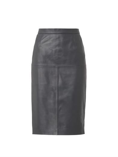 Freda Charcoal-grey leather pencil skirt