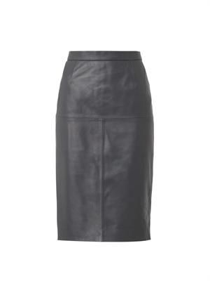 Charcoal-grey leather pencil skirt