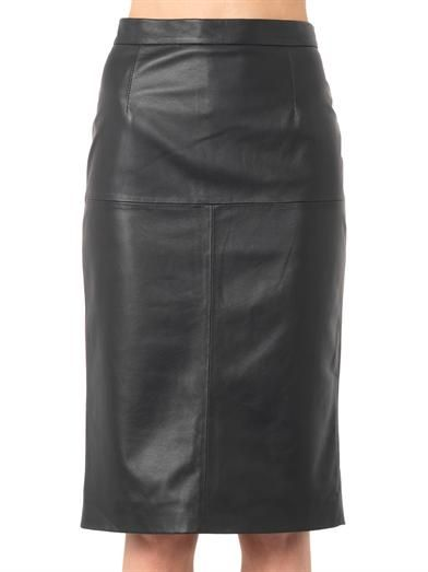 Freda Navy leather pencil skirt