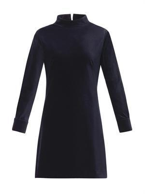 Stand-collar velvet dress