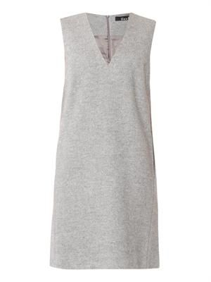 V-neck silk and wool tunic dress