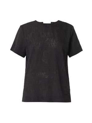 Notch sheer rose-jacquard T-shirt