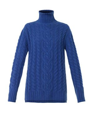 Roll-neck cable-knit sweater