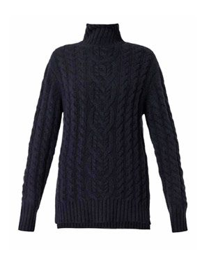 Navy roll-neck cable-knit sweater